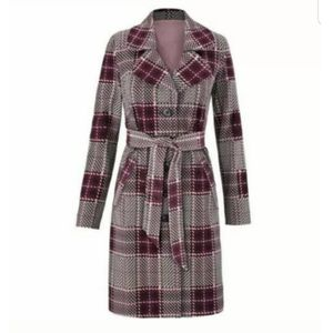 CABI Sovereign Trench Coat Plaid M